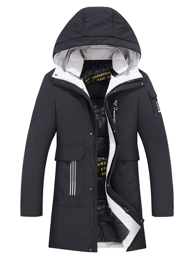 Ericdress Hooded Color Block Casual Men's Slim Down Jacket