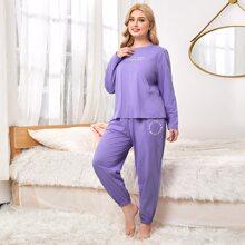 Pullover mit Buchstaben Grafik & Jogginghose Schlafanzug Set