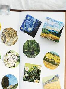 45pcs Oil Painting Pattern Sticker
