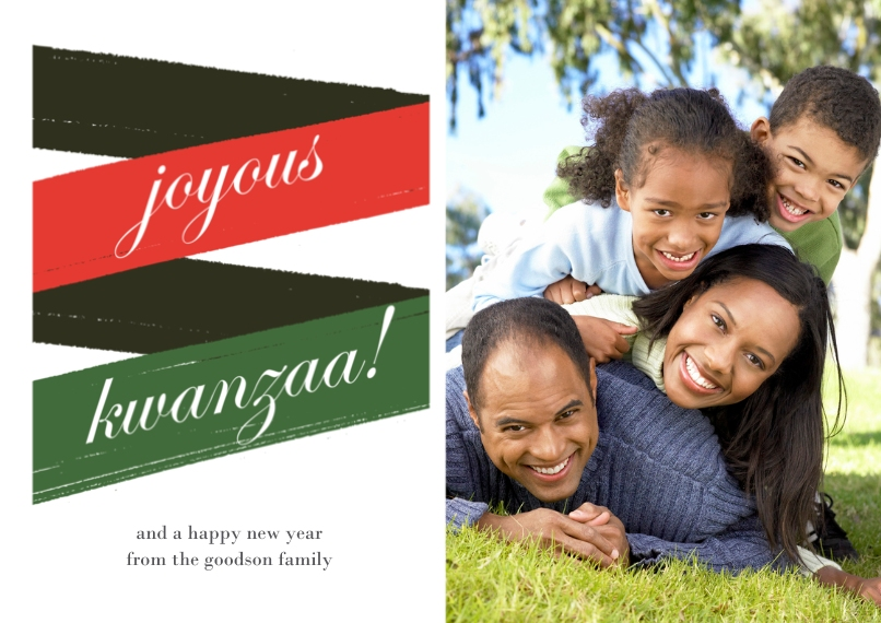 Kwanzaa Photo Cards 5x7 Cards, Premium Cardstock 120lb with Elegant Corners, Card & Stationery -Joyous Ribbon Kwanzaa