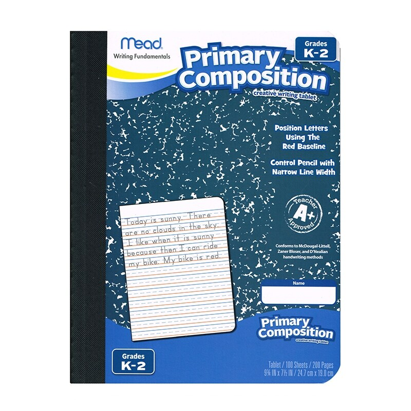 (12 Ea) Primary Composition Book Full Page Ruled 100Sht