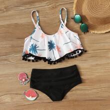 Maedchen Bikini mit Pompons am Saum, Palme Muster und Ruesche