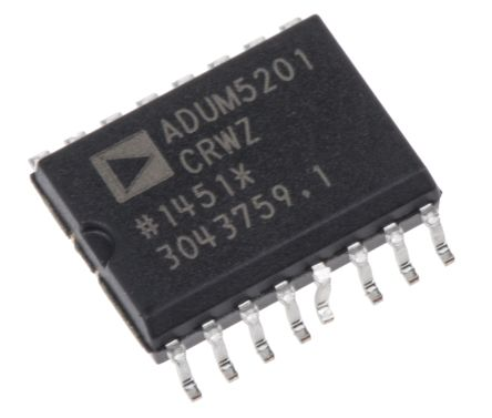 Analog Devices ADUM5201CRWZ , 2-Channel Digital Isolator 25Mbps, 2300 V, 16-Pin SOIC