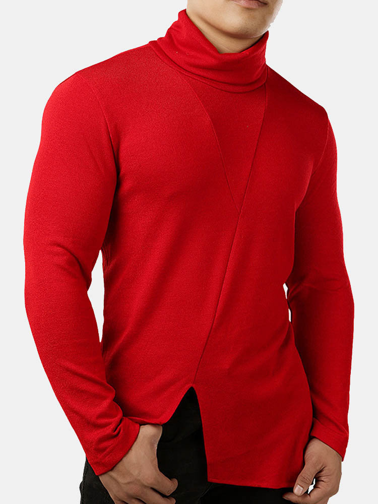 Men's Knit Turtleneck Sweater Long Sleeve Irregular Slim Fit Black Sweater