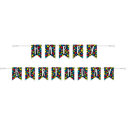 Colorful Mosaic Birthday Pennant Banner, 9 ft, 1Pc For Birthday Party