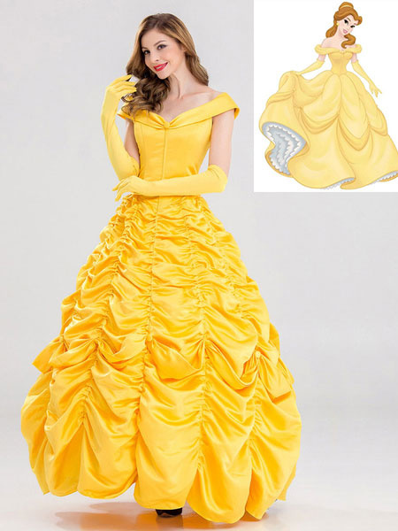 Milanoo Disney Cartoon Cosplay Princess Belle Beauty And The Beast Cosplay Dress