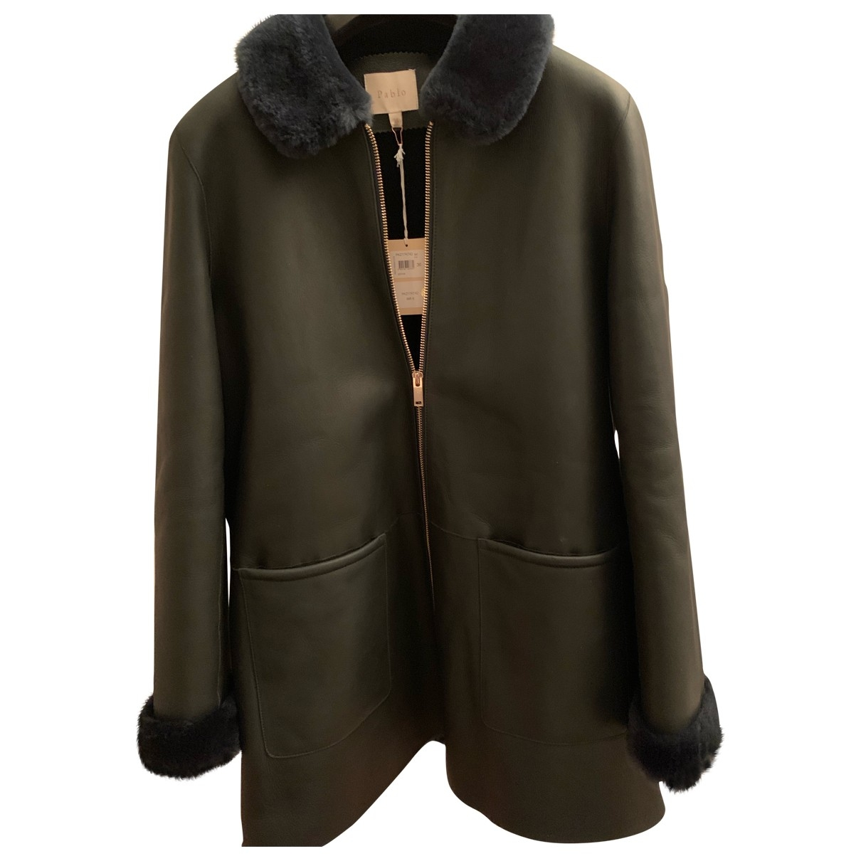 Pablo \N Green Leather coat for Women 36 FR