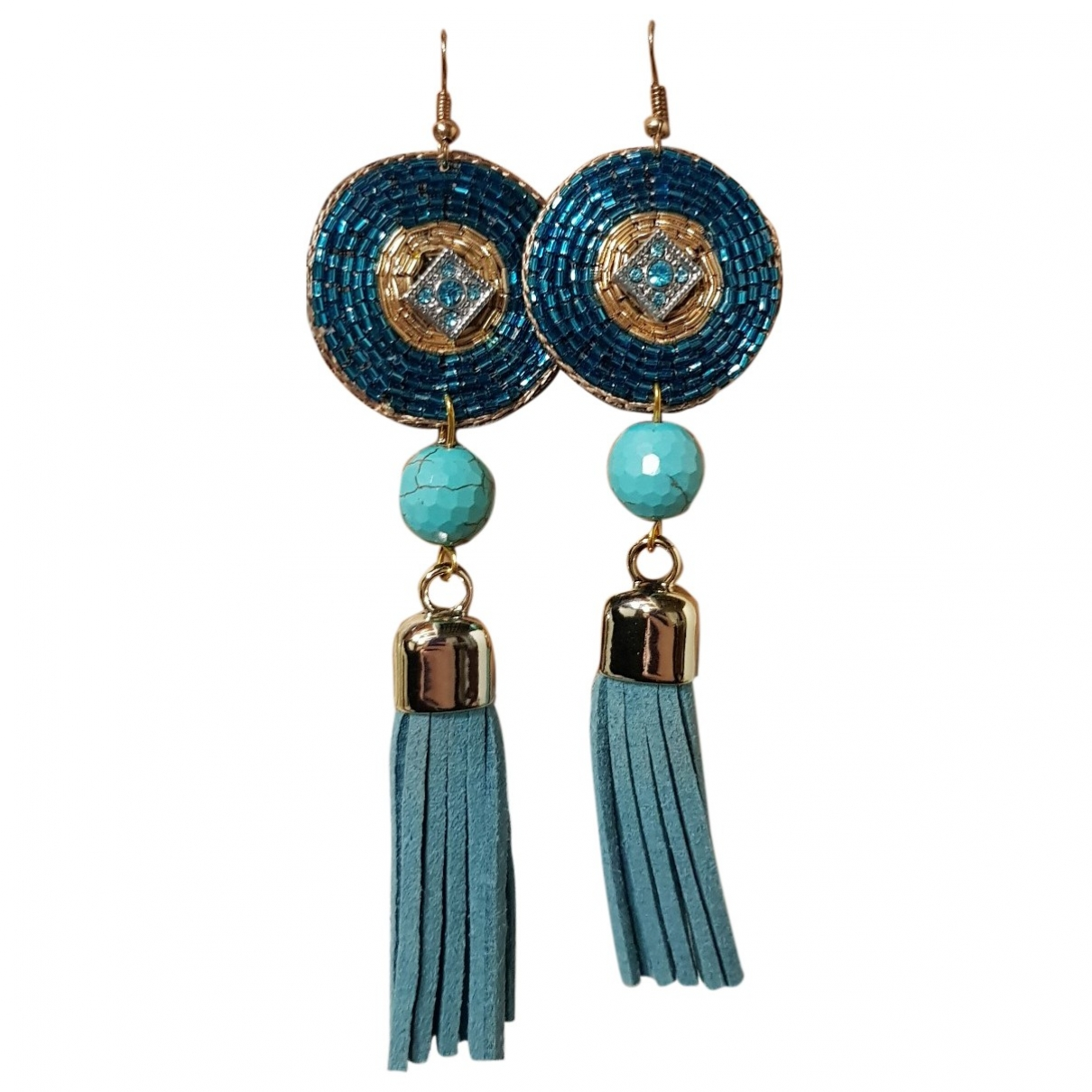 Non Signé / Unsigned \N Turquoise Leather Earrings for Women \N