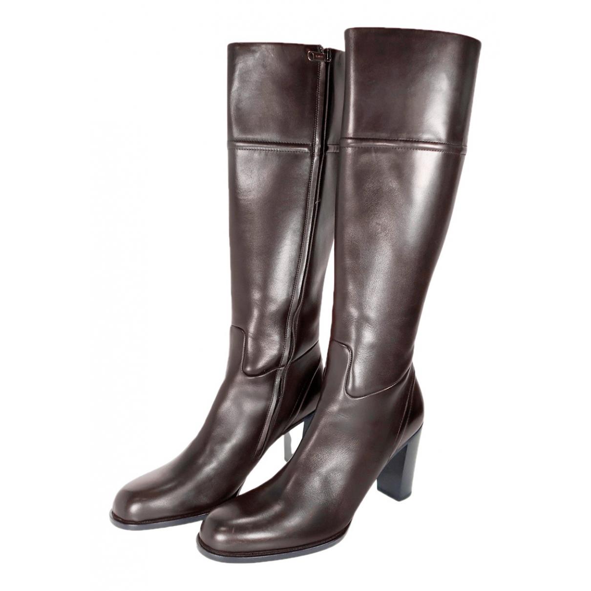 Jil Sander N Brown Leather Boots for Women 40 EU