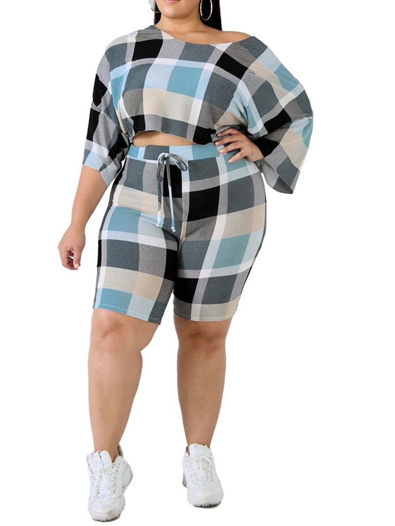 Ericdress Plus Size Casual Color Block Round Neck Two Piece Sets