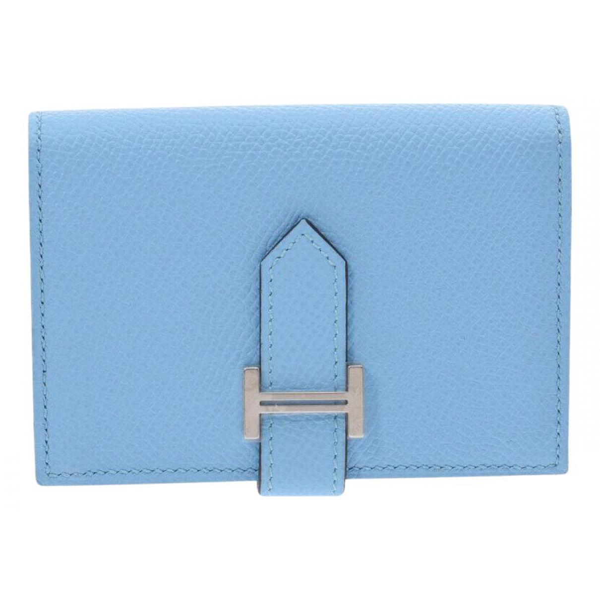 Hermes - Portefeuille   pour femme en cuir - bleu