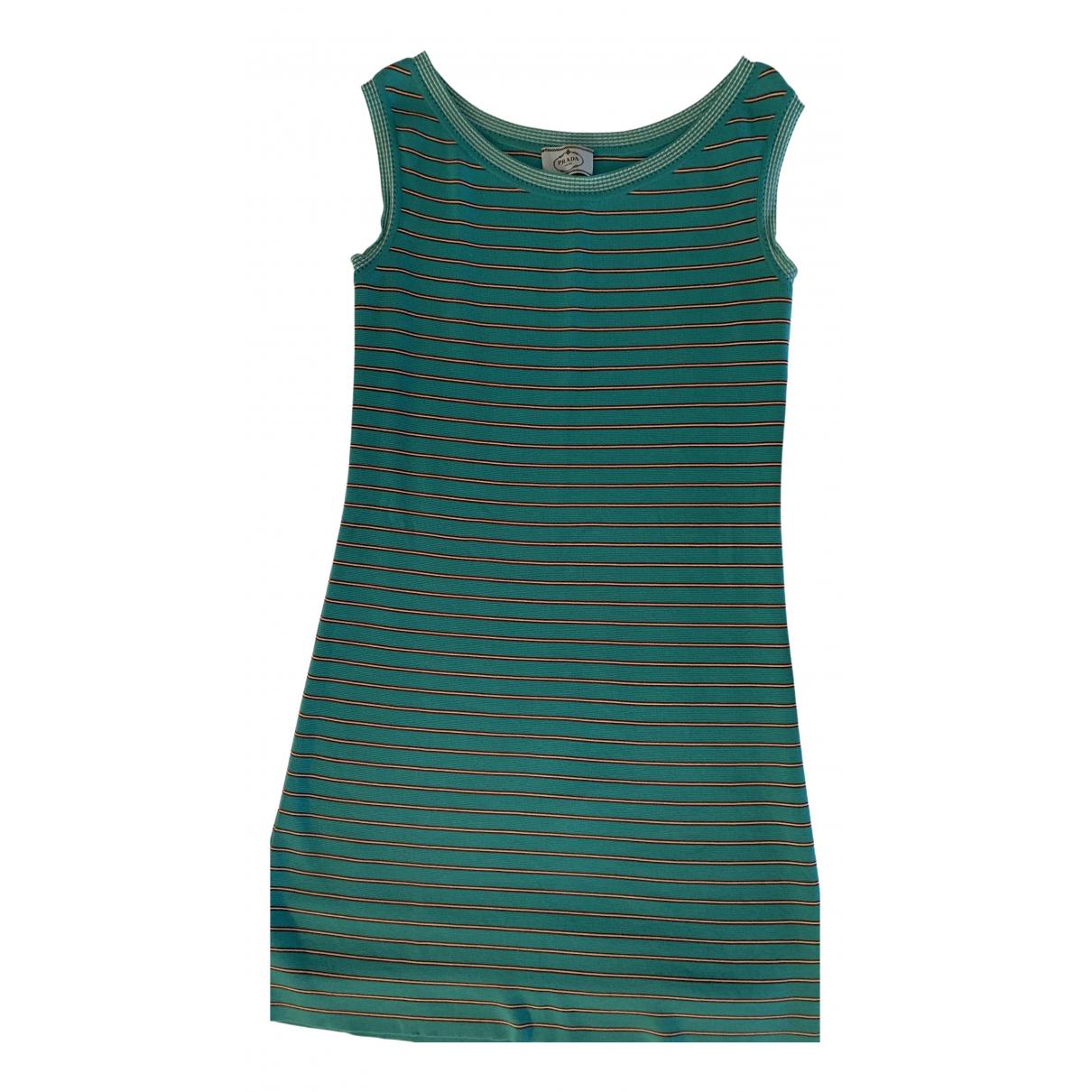 Prada \N Kleid in  Tuerkis Baumwolle