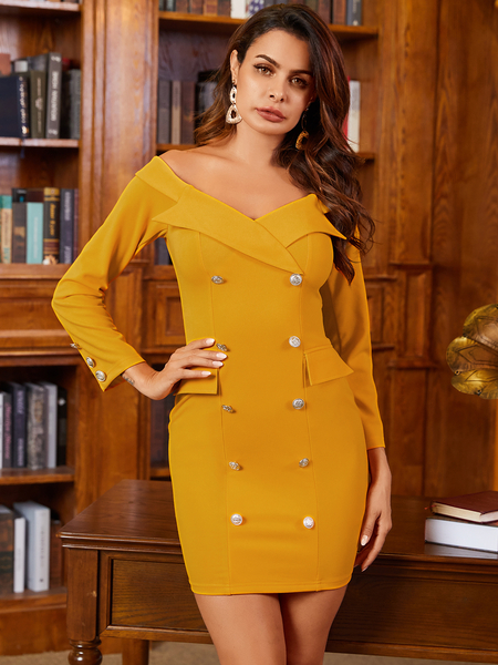 YOINS Yellow Button Design Off The Shoulder Long Sleeves Dress
