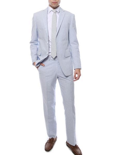 Mens Blue Comfort Cotton Notch Lapel Slim Fit Seersucker Cotton Suit