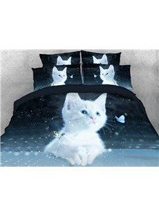 White Kitten Duvet Cover Set 3D Printed 4-Piece Animal Bedding Sets