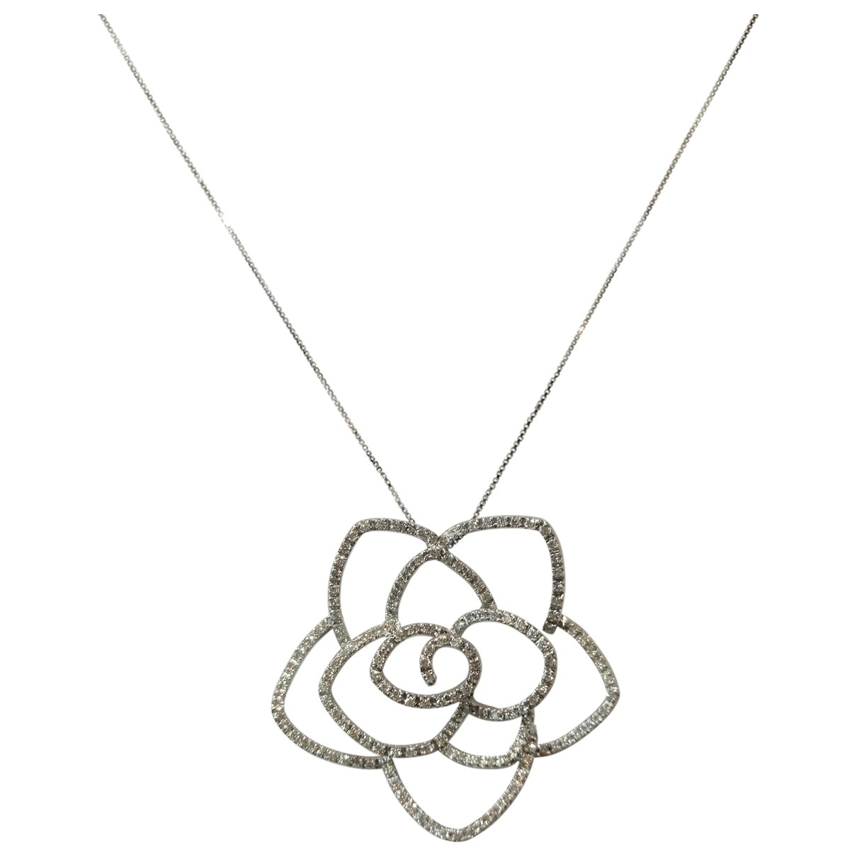 Non Signé / Unsigned Motifs Floraux White White gold necklace for Women \N