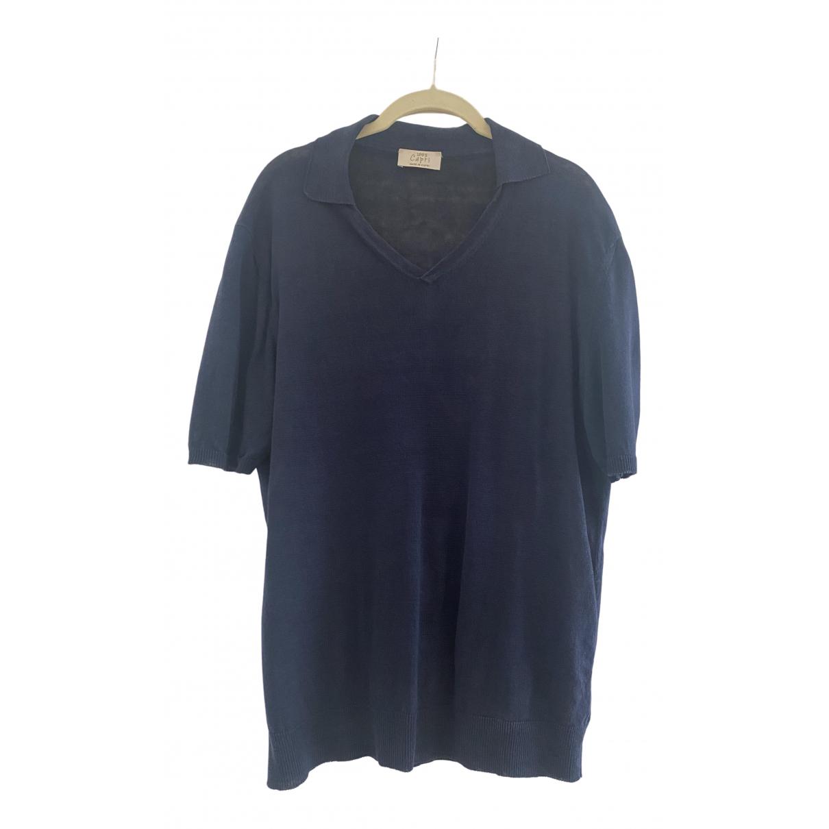 100% Capri - Polos   pour homme en lin - bleu