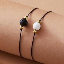 2pcs Stone Decor String Bracelet