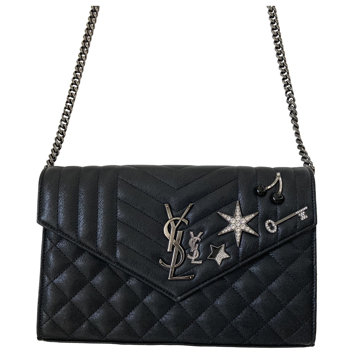 Saint Laurent Portefeuille enveloppe monogram Black Leather handbag for Women \N