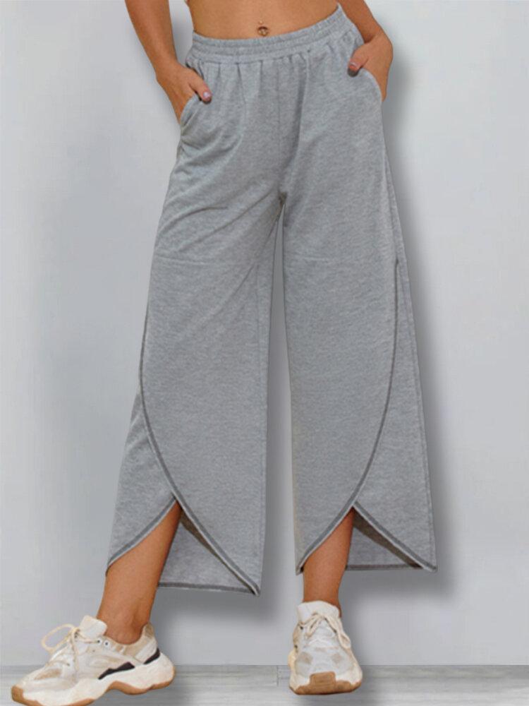 Casual Solid Color Elastic Waist Irregular Pants For Women