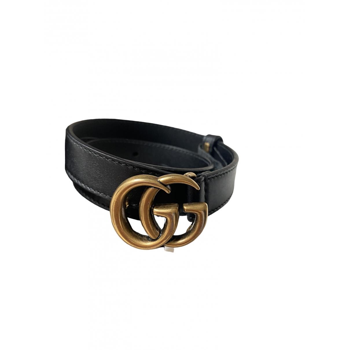 Gucci GG Buckle Black Leather belt for Women XS International