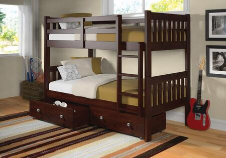 1010-3TTCP_505-CP Twin/Twin Mission Bunk Bed W/Dual Under Bed Drawers In