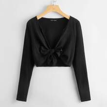 Tie Front Rib-knit Solid Top