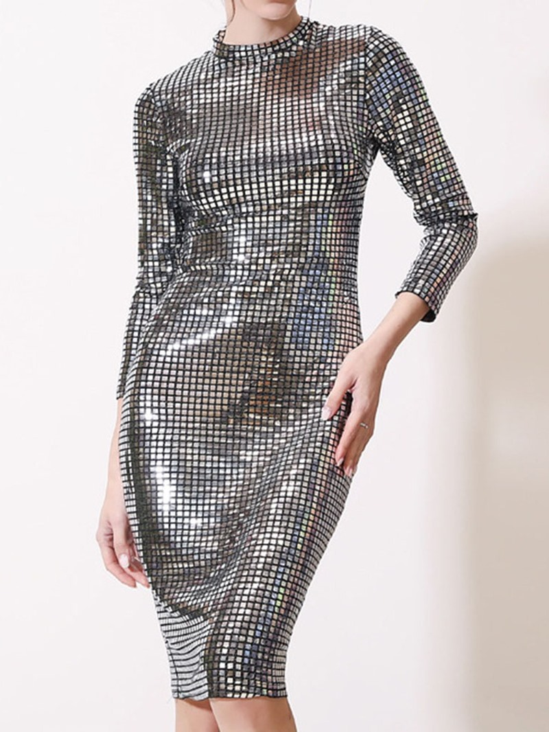 Ericdress Sequins Stand Collar Knee-Length Pullover Party/Cocktail Dress