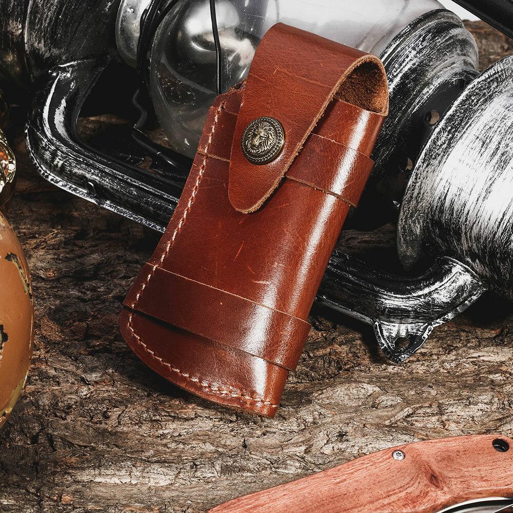 Men Genuine Leather EDC Retro Easy Carry Waist Bag Belt Sheath