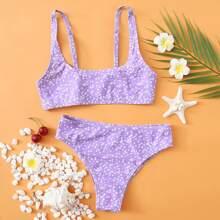 Bikini Badeanzug mit Bluemchen Muster, Buegel und seitlichem Band