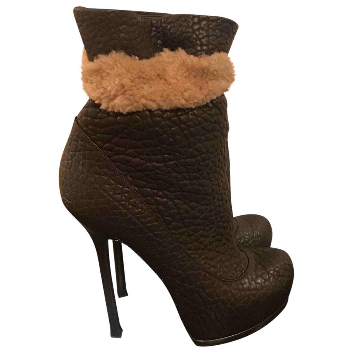 Yves Saint Laurent - Boots   pour femme en cuir - marron