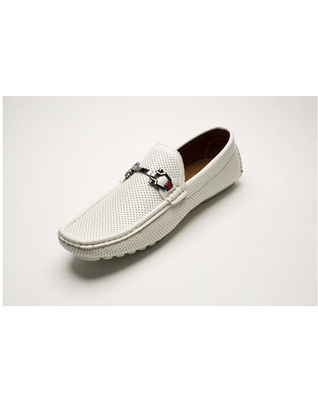 Men's Two Toned Slip-On Style Fashionable White Shoes