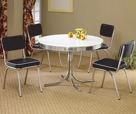 Cleveland 2388TC 5 PC Dining Room Set with Chrome and White Color Round Dining Table + 4 Black Color Upholstered Side