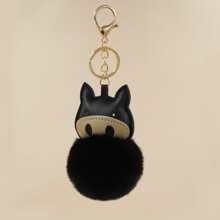 Pom Pom Decor Pig Charm Keychain