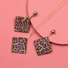 3 piezas set joya con diseño geometrico con estampado de leopardo