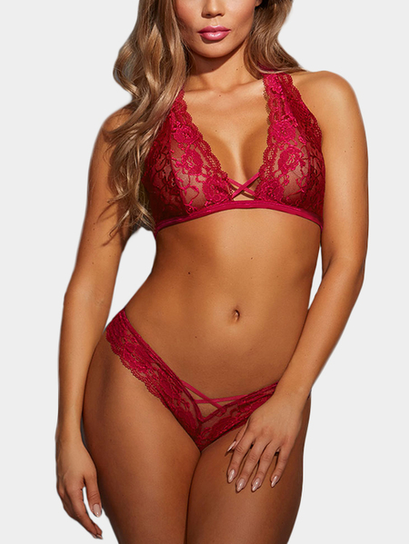 Yoins Rose Delicate Sheer Lace Lingerie Set
