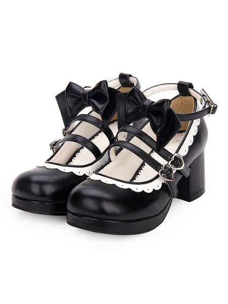 Milanoo Sweet Lolita Footwear Bow Frill Strappy Chunky High Heel White Lolita Shoes