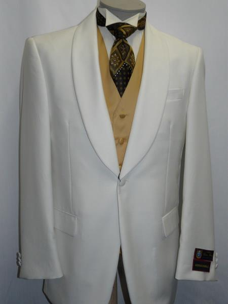 Men's Ivory Dinner Jacket Shawl Collar Formal Wear Single Breasted