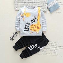 Sweatshirt & Jogginghose mit Karikatur und Buchstaben Grafik