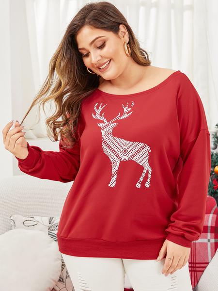 Yoins Plus Size Red Christmas Deer Printing Sweatshirt