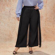 Hose mit elastischer Taille und breitem Beinschnitt