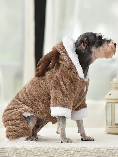 Milanoo Disfraz de mascota Navidad Cafe Ropa marron Poliester Ciervo Suministros para mascotas