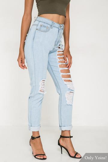 Yoins  Denim Jeans With Shredded Rips