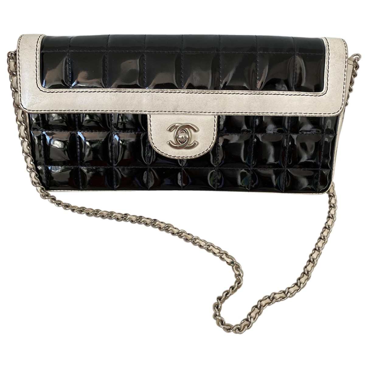 Chanel East West Chocolate Bar Black Patent leather handbag for Women \N