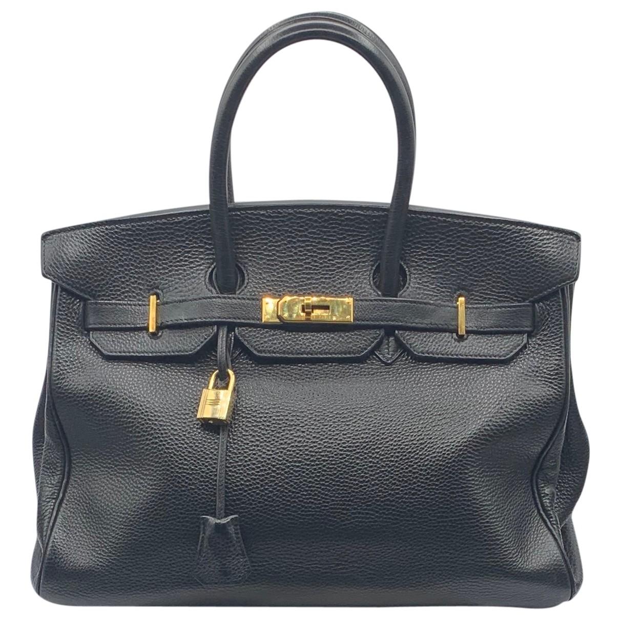 Hermes Birkin 35 Handtasche in  Schwarz Leder