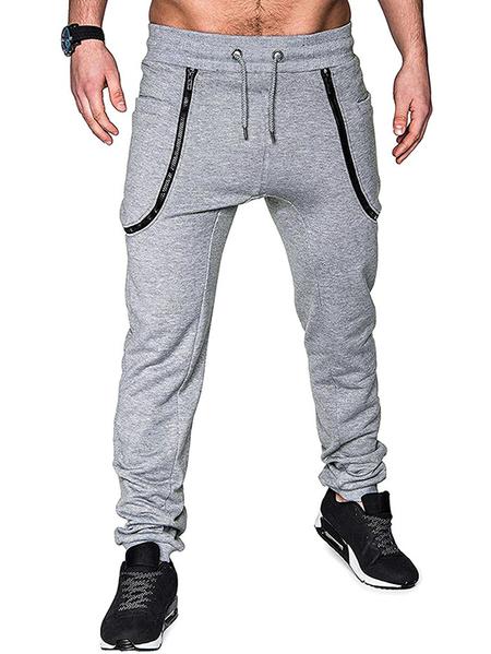 Yoins Men Zipper Pockets Sporty Running Fitness Drawstring Jogging Pants