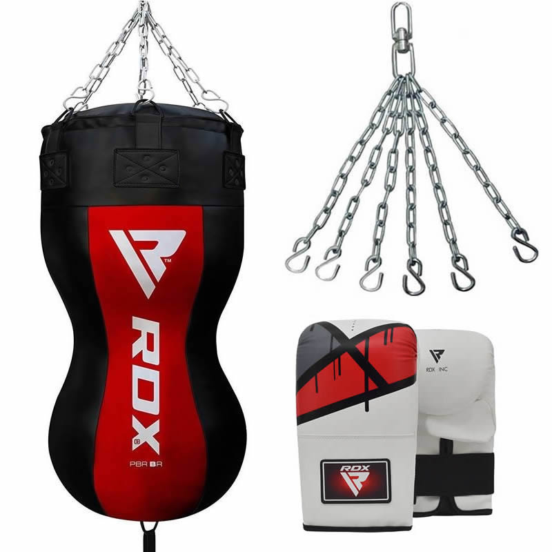 RDX BR Body Punch Bag and Mitts Set with Hanging Chains Black / Red / White