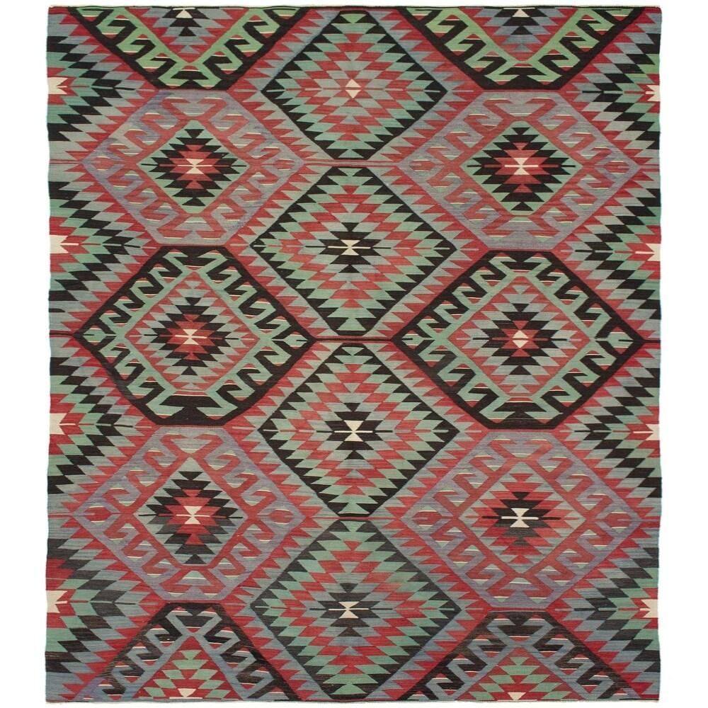 ECARPETGALLERY Flat-weave Sivas Grey, Red Wool Kilim - 5'4 x 10'4 (Grey/ Red - 5'4 x 10'4)