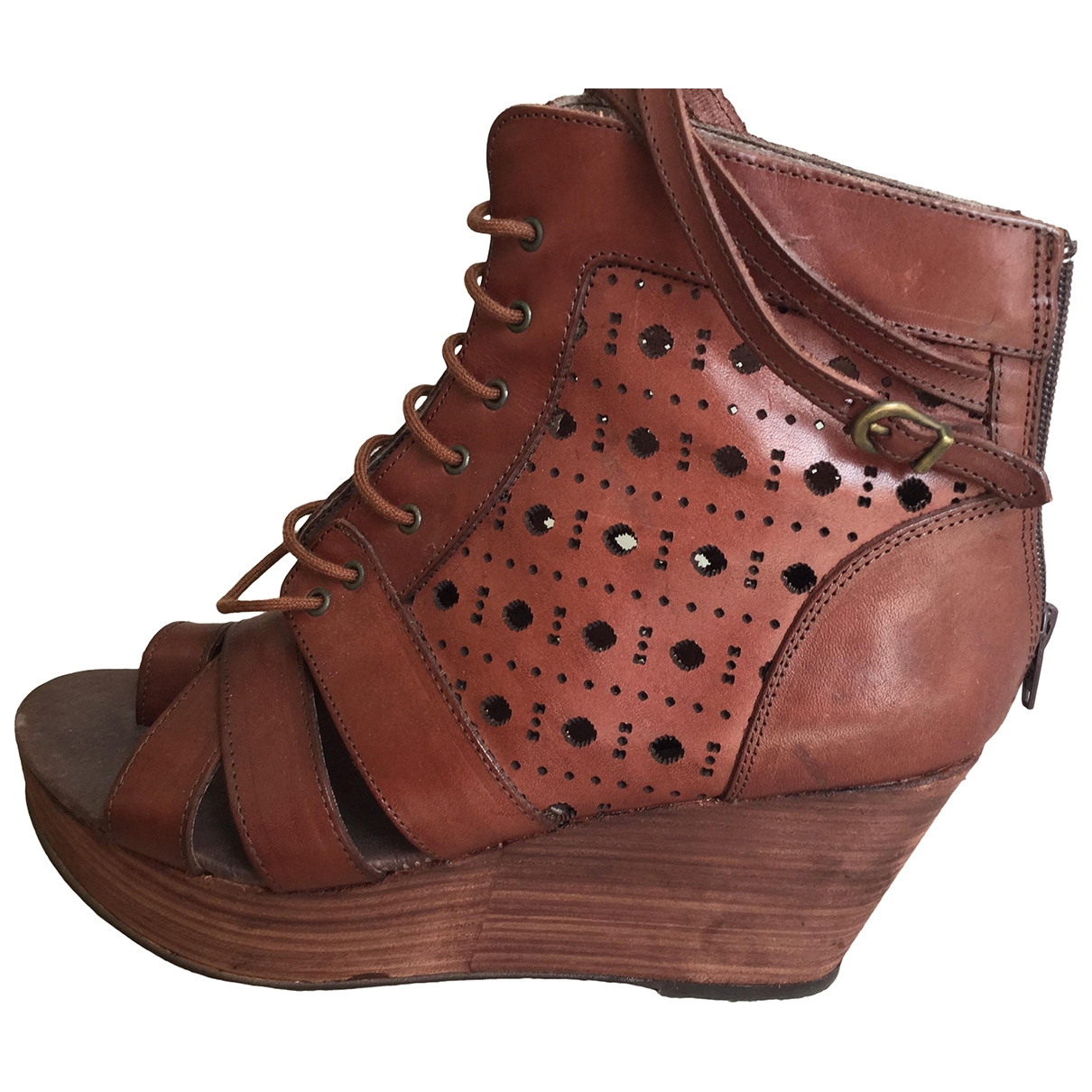 Miista \N Brown Leather Sandals for Women 41 EU