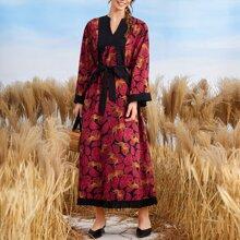 Kleid mit Tier und Stein Muster, Rueschen und Guertel